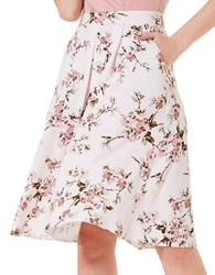 Miss Selfridge Floral Printed Midi Skirt Beige