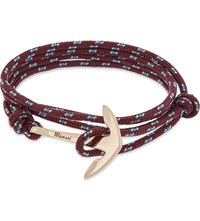 Miansai Anchor Rose Gold Plated Wrap Bracelet Burgundy