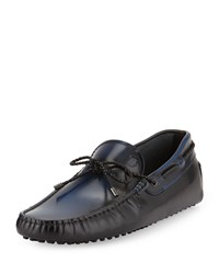 Gommini Scooby Tie Leather Driver Black Blue Tod's