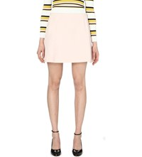 Whistles A Line Stretch Crepe Mini Skirt Pale Pink