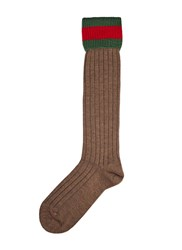 Gucci Long Ribbed Knit Socks Brown