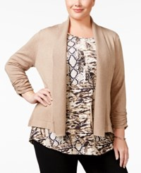 Jm Collection Plus Size Ruched Sleeve Cardigan Only At Macy's Acorn Heather