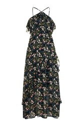 Glamorous Floral Printed Tiered Maxi Dress By Petites Navy Blue