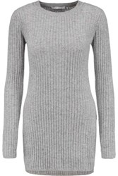 Autumn Cashmere Ribbed Knit Sweater Gray