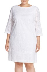 Plus Size Women's London Times Circle And Dot Eyelet Cotton Shift Dress White