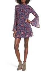 Speechless Women's Floral Print Bell Sleeve Dress Navy Red