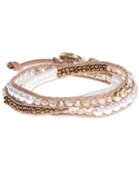 Lonna And Lilly Gold Tone White Beaded Wrap Bracelet Natural