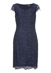 Vera Mont Cap Sleeved Lace Dress Indigo