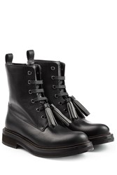 Brunello Cucinelli Leather Boots With Embellished Tassels Black