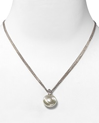 Majorica Coin Simulated Pearl Pendant Necklace White