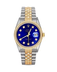 Pre Owned Rolex Stainless Steel And 18K Yellow Gold Two Tone Datejust Watch With Blue Dial And Diamonds 36Mm Blue Gold