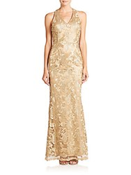 Dawn Levy Platinum Amulet Embroidered Mesh Floor Length Gown Gold