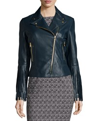 Zac Posen Willo Leather Moto Jacket With Fringe Cuffs Petrol