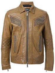 Dsquared2 Studded Leather Jacket Brown
