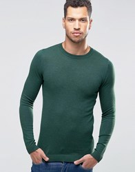 Asos Muscle Fit Crew Neck Jumper Forest Green