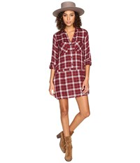 Bb Dakota Anden Plaid Shirtdress Burnt Red Women's Dress