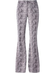 Giamba Snakeskin Print Flared Trousers Pink And Purple