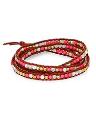 Chan Luu 4Mm Neon Pearl Mother Of Pearl And Crystal Beaded Wrap Bracelet Multi