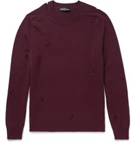 Alexander Mcqueen Distressed Cashmere Sweater Burgundy