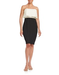 Aidan Mattox Strapless Ruffle Sheath Dress Ivory Black