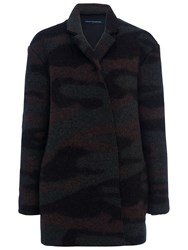 French Connection Camo Felt Coat Black Multi