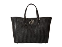 My Flat In London Holly Straw Tote Black Tote Handbags
