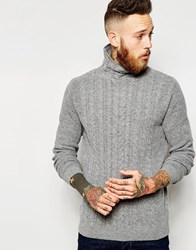 Asos Lambswool Rich Cable Knit Jumper With Turtleneck Lightgrey