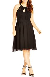 City Chic Plus Size Women's 'Summer Lace' Fit And Flare Dress Black