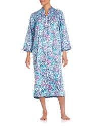 Miss Elaine Floral And Leopard Print Charmeuse Duster Robe Blue