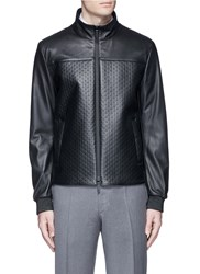 Armani Collezioni Diamond Embossed Leather Jacket Black