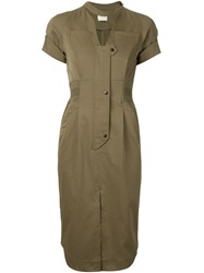 Mame Fitted Shirt Dress Green