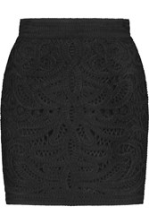 Maje Jazzy Embroidered Crocheted Cady Mini Skirt Black