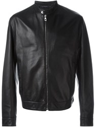 Versace Collection Leather Jacket Black