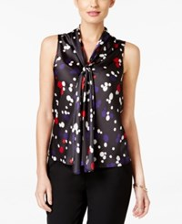 Nine West Dot Print Tie Neck Blouse Fire Red Grape Multi