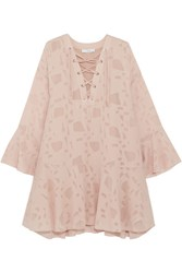 Iro Ralene Lace Up Chiffon And Tulle Mini Dress Blush