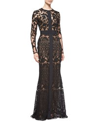 Elie Saab Long Sleeve Sheer Embroidered Lace Gown