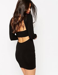 Asos Body Conscious Dress With High Neck And Open Strap Back Black