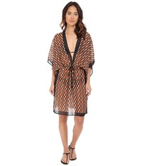 Michael Kors Deco Hexagon Dress Cover Up Carmel Multi Women's Swimwear Black