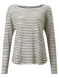 Jigsaw Slouchy Linen Stripe T Shirt Ink