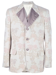 Dolce And Gabbana Vintage Flower Print Suit Nude And Neutrals