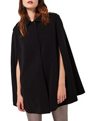 Miss Selfridge Button Front Cape Coat Black