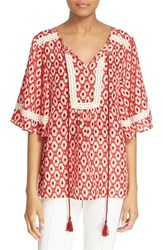 Women's Kate Spade New York 'Posy Ikat' Print Silk Top