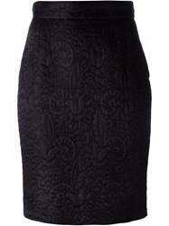 Moschino Vintage Jacquard Pencil Skirt Black