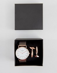 Reclaimed Vintage Classic Mesh Watch And Cufflinks Gift Set In Rose Gold Rose Gold
