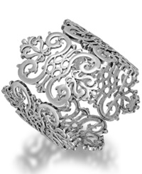 Bar Iii Silver Tone Filigree Lace Stretch Bracelet