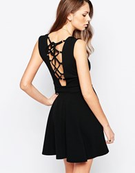 Daisy Street Skater Dress With Lace Up Back Black