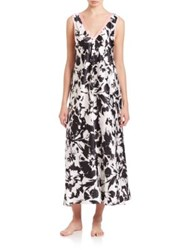 Oscar De La Renta Sleepwear Signature Long Nightgown Black White