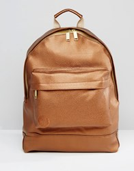 Mi Pac Tumbled Leather Look Backpack In Gold Gold