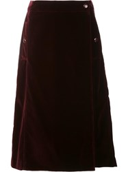 Vanessa Seward Velvet Effect Eyelet A Line Skirt Red