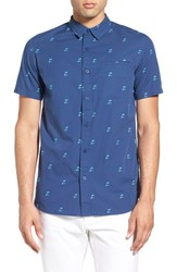 Men's Tavik 'Porter' Trim Fit Short Sleeve Palm Print Woven Shirt